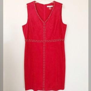 Peter Nygard red studded midi dress faux suede